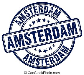 Amsterdam blue grunge round vintage rubber stamp