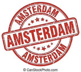Amsterdam red grunge round vintage rubber stamp