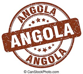 Angola brown grunge round vintage rubber stamp