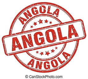 Angola red grunge round vintage rubber stamp