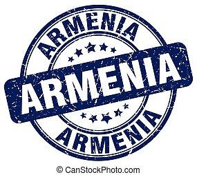Armenia blue grunge round vintage rubber stamp