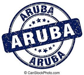 Aruba blue grunge round vintage rubber stamp