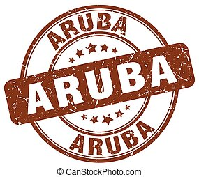 Aruba brown grunge round vintage rubber stamp