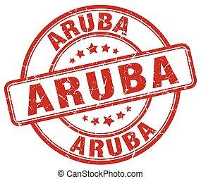 Aruba red grunge round vintage rubber stamp