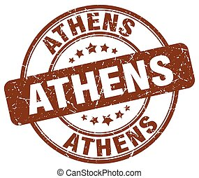Athens brown grunge round vintage rubber stamp