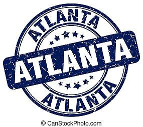 Atlanta blue grunge round vintage rubber stamp