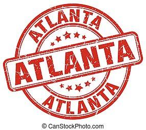 Atlanta red grunge round vintage rubber stamp
