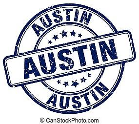 Austin blue grunge round vintage rubber stamp