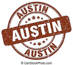 Austin brown grunge round vintage rubber stamp