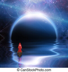 Man in red robe floating to blue planet