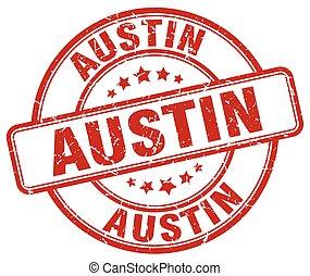 Austin red grunge round vintage rubber stamp