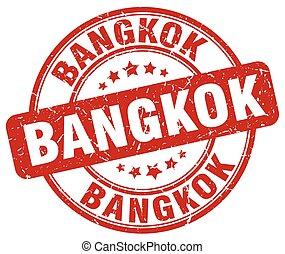 Bangkok red grunge round vintage rubber stamp