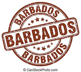 Barbados brown grunge round vintage rubber stamp