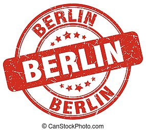 Berlin red grunge round vintage rubber stamp