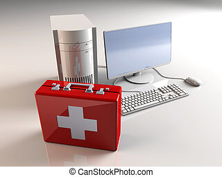 Computer First aid - 3D rendered Illustration