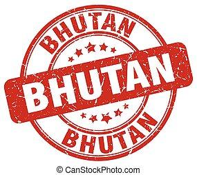 Bhutan red grunge round vintage rubber stamp