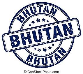 Bhutan blue grunge round vintage rubber stamp