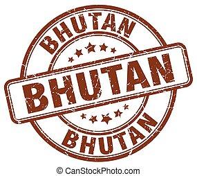 Bhutan brown grunge round vintage rubber stamp