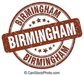 Birmingham brown grunge round vintage rubber stamp