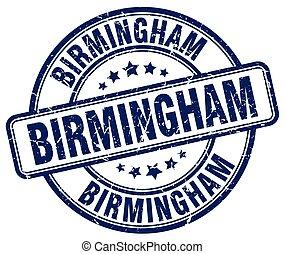 Birmingham blue grunge round vintage rubber stamp