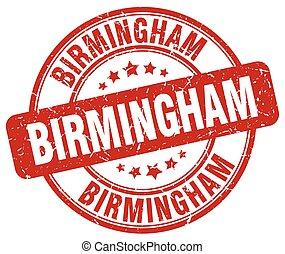 Birmingham red grunge round vintage rubber stamp