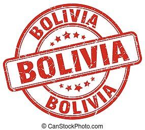 Bolivia red grunge round vintage rubber stamp