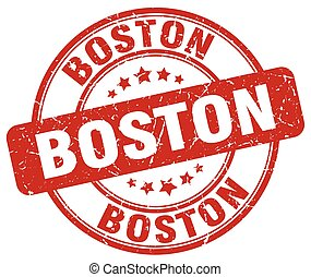 Boston red grunge round vintage rubber stamp