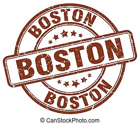 Boston brown grunge round vintage rubber stamp