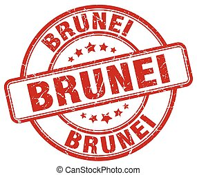 Brunei red grunge round vintage rubber stamp