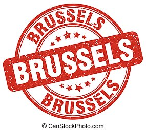 Brussels red grunge round vintage rubber stamp