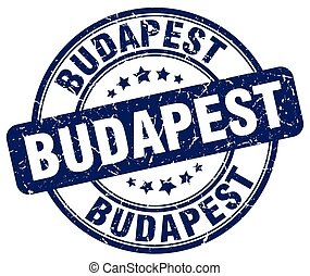 Budapest blue grunge round vintage rubber stamp