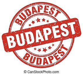 Budapest red grunge round vintage rubber stamp