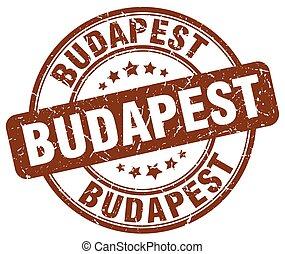 Budapest brown grunge round vintage rubber stamp