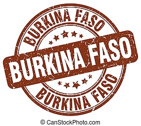 Burkina Faso brown grunge round vintage rubber stamp