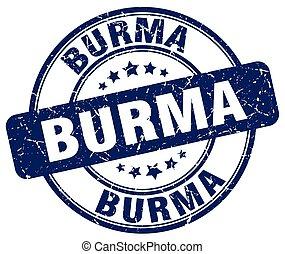 Burma blue grunge round vintage rubber stamp