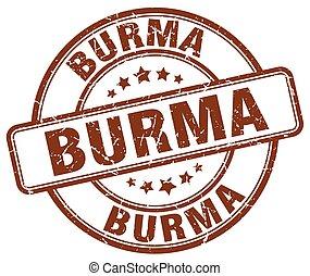 Burma brown grunge round vintage rubber stamp
