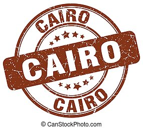 Cairo brown grunge round vintage rubber stamp