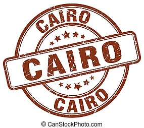 Cairo brown grunge round vintage rubber stamp