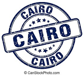 Cairo blue grunge round vintage rubber stamp