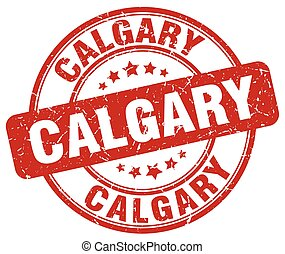 Calgary red grunge round vintage rubber stamp