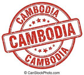 Cambodia red grunge round vintage rubber stamp