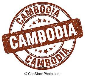 Cambodia brown grunge round vintage rubber stamp