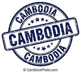 Cambodia blue grunge round vintage rubber stamp