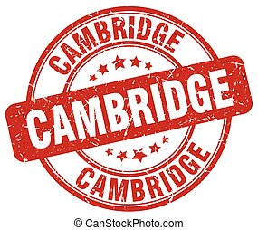 Cambridge red grunge round vintage rubber stamp