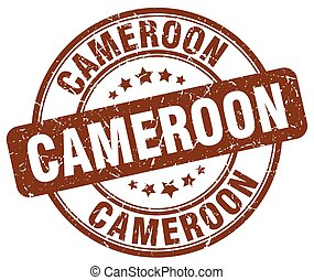 Cameroon brown grunge round vintage rubber stamp