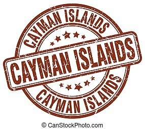Cayman Islands brown grunge round vintage rubber stamp