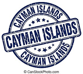 Cayman Islands blue grunge round vintage rubber stamp
