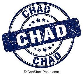 Chad blue grunge round vintage rubber stamp