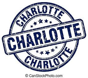 Charlotte blue grunge round vintage rubber stamp