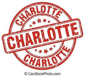 Charlotte red grunge round vintage rubber stamp